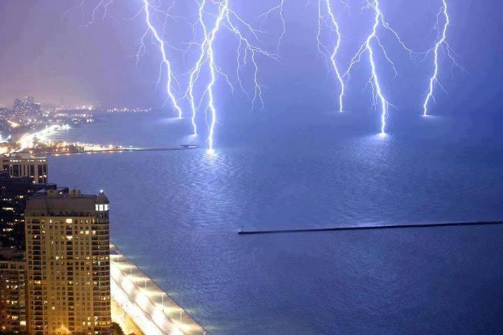 Lightnings Strike on Lake Shore Drive, Lake Michigan