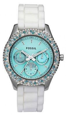 New Fossil Ladies Stella White Aqua Teal Blue Crystal MOP Boyfriend Wa