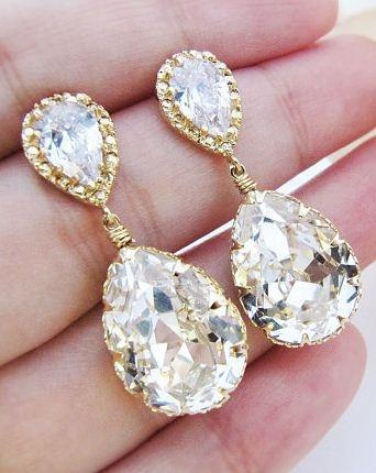 Bridal Earrings Bridesmaid Earrings Gold plated Cubic zirconia earring