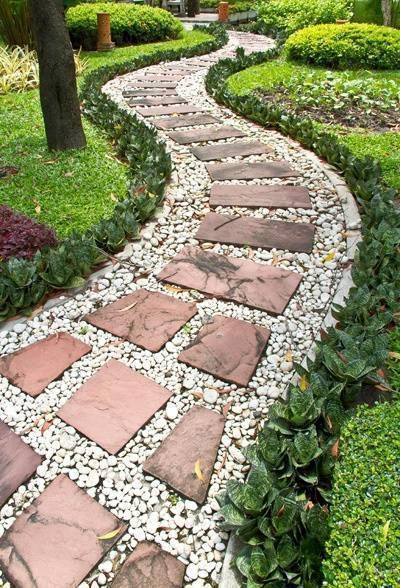 Stone walkways Lawn Designs