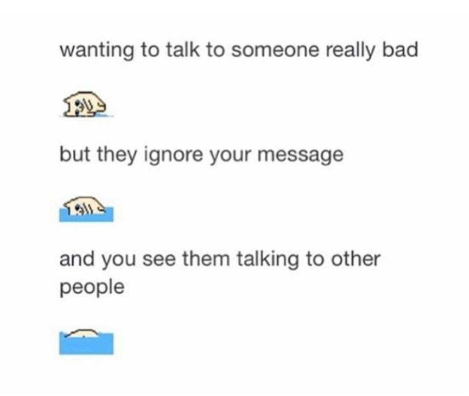 Want to talk to someone and they ignore you