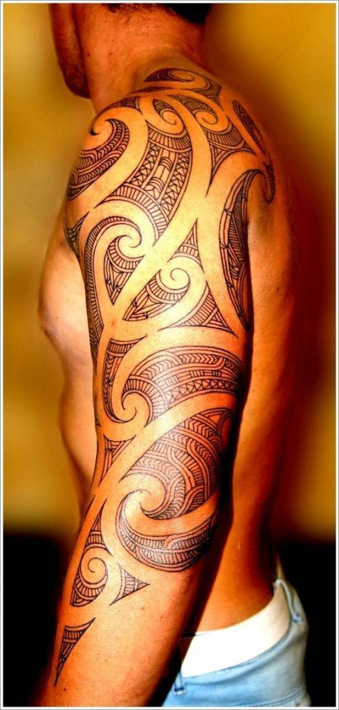 Cool Maori Tribal Tattoo Designs For Men On Sleeve