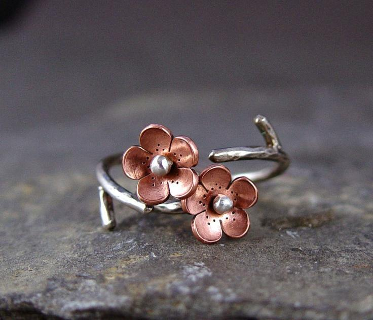 Cherry Blossom Branch Adjustable Ring,Spring Jewelry