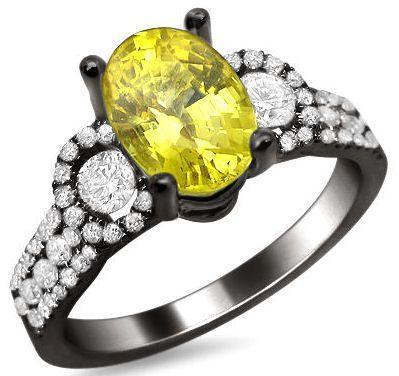 2.50ct Yellow Oval Sapphire Diamond Engagement Ring 18k Black Gold