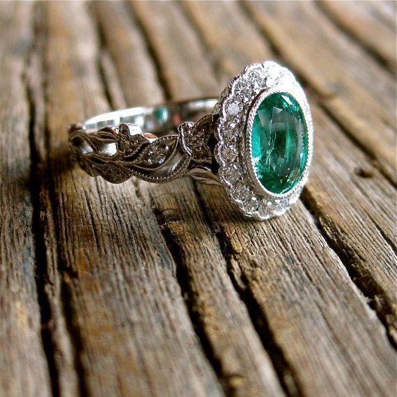 Oval Cut Green Emerald Engagement Ring in 14K White Gold with Leaf Vin