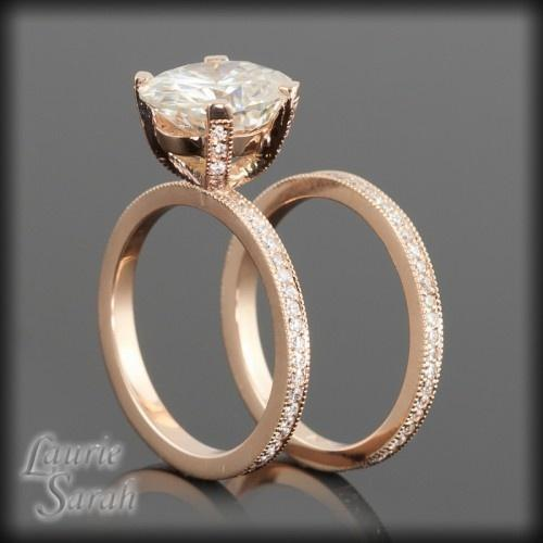 Moissanite and Diamond Engagement Ring in 14kt Rose Gold with Matching