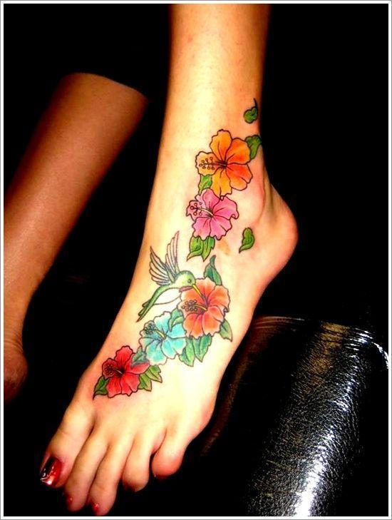 Orchid Tattoo Design For Girl On Foot