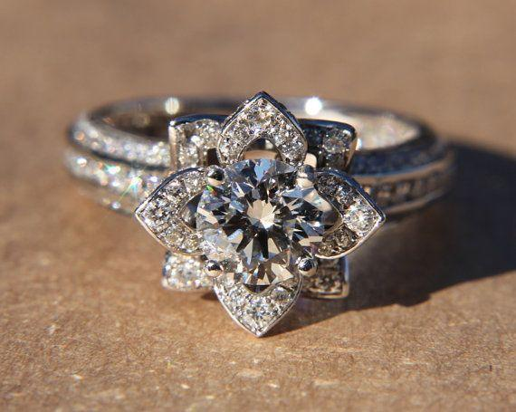 UNIQUE Flower Rose Diamond Engagement or Right Hand Ring - 2.20 carat