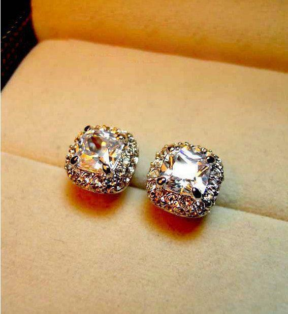 Classic Square Stud Earrings, Wedding Jewelry, 18k White Gold Plated,