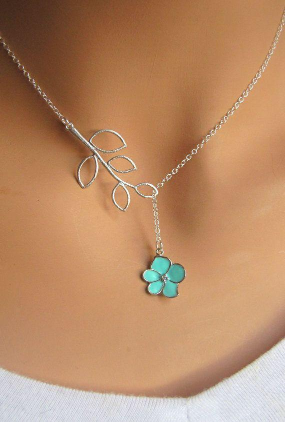 Aqua Orchid Flower with CZ and Branch lariat necklace. Bridal. Wedding