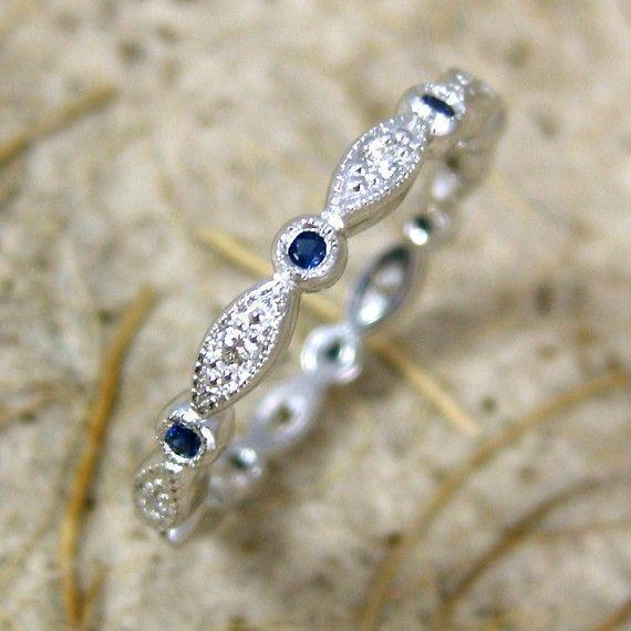 Hand Crafted Diamond and Blue Sapphire Shield & Round Bezel Wedding Ri