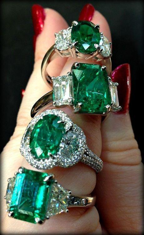 Emerald and diamond rings