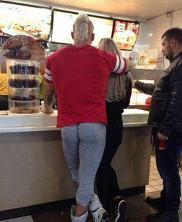 Man In Yoga Pants at McDonald's