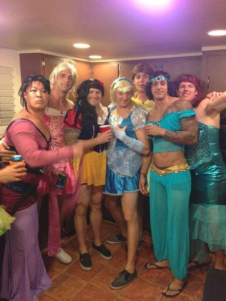 Guys dressed as Disney Princesses for Halloween! Merciful heavens I ca