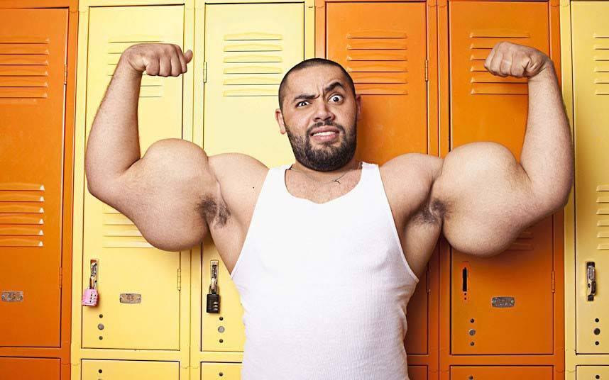 Mustafa Ismail of Egypt has the worlds largest biceps.