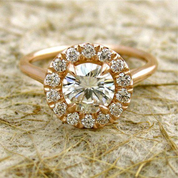 Handmade Round Moissanite and Diamond Engagement Ring
