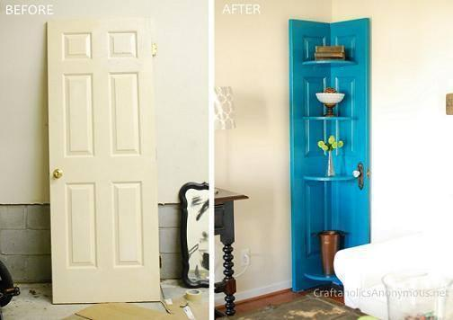 Old Door Into Corner Shelf! DIY