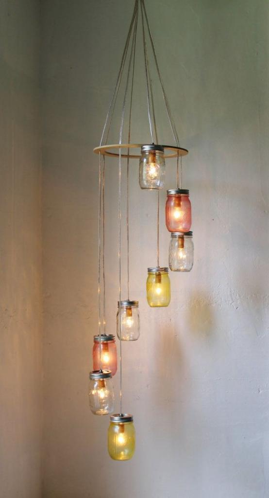 Pink Lemonade MASON JAR CHANDELIER Hanging Light Fixture