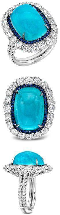 Glorious Paraiba Tourmaline, Sapphire and Diamond Ring by Rylaarsdam