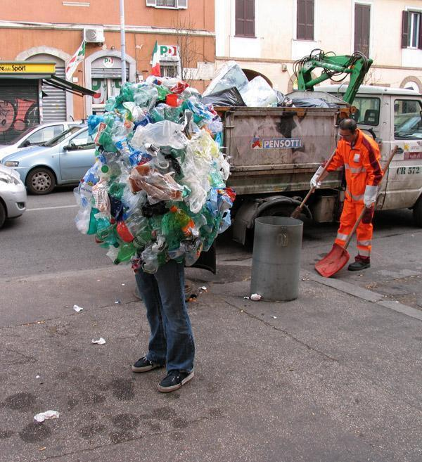 Man Cover with Bottles To Keep clean Society