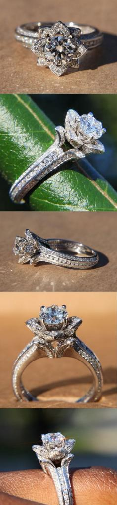 Gorgeous UNIQUE Flower Rose Diamond Engagement Ring