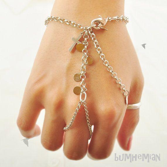 Gypsy Slave Bracelet Rhodium Rolo Cross Pendant & by Bumhemian