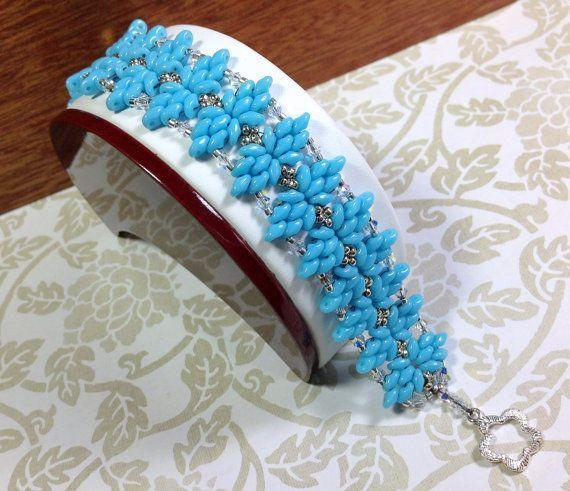 Turquoise Beaded Bracelet, Super Duo Beaded Bracelet, Turquoise and Si