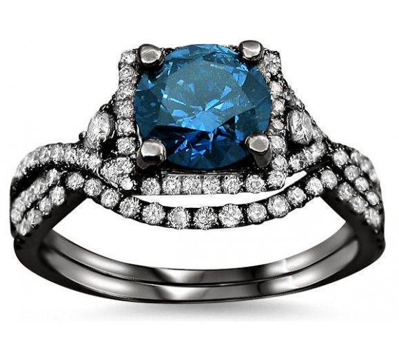 1.90ct Blue Round Diamond Engagement Ring Bridal Set 18k Black Gold