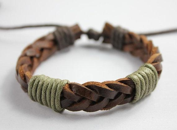 Men or women brown knit leather bracelet with cord wraps