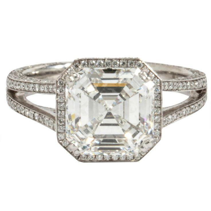 Asscher Cut Diamond and Platinum Engagement Ring