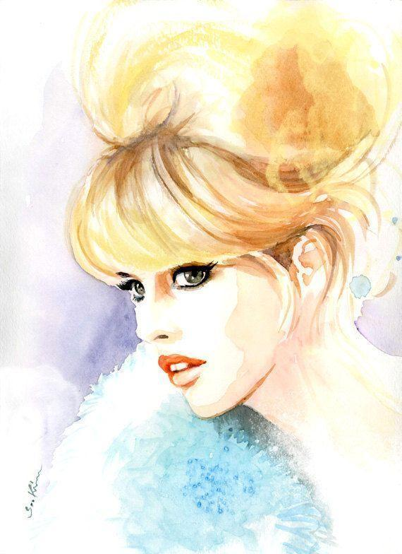 Watercolor fashion illustration Brigitte Bardot by sookimstudio,