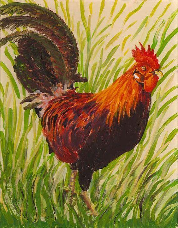 Kauai Rooster original reverse acrylic on plexiglas on Etsy, $325.00