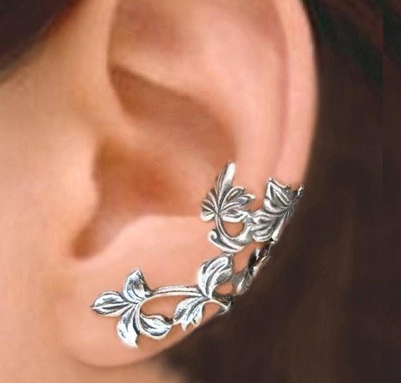 Ear Cartilage Piercing Spring Leaf branch Sterling Silver Earrings