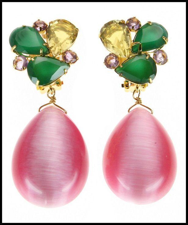 Bounkit Green Onyx & Pink Cat's Eye Earrings.