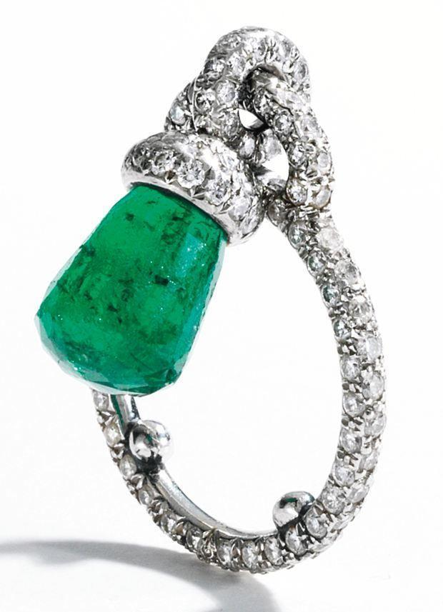 Platinum, Briolette Emerald and Diamond Ring, JAR, Paris