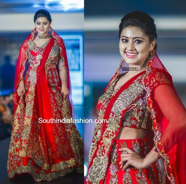 Sneha Red Bridal Lahenga Madras Fashion Show