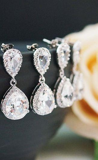 Wedding Jewelry Bridesmaid Jewelry Bridesmaid Earrings Lux Cubic…