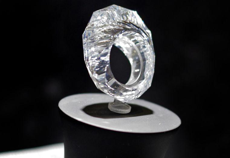 A ring carved from a single diamond. It weights 150 carats and is valu