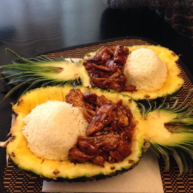 Teriyaki Chicken in a Pineapple Bowl