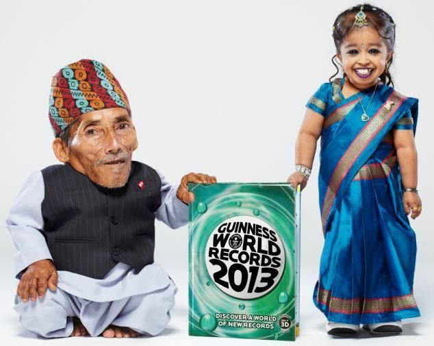 The world's smallest man, 72-year-old Chandra Dangi from Nepal with J