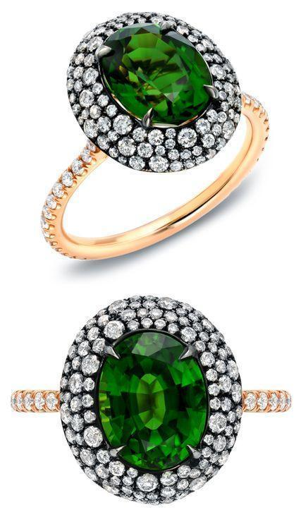 Rare Vivid Chrome Tourmaline and Diamond Ring
