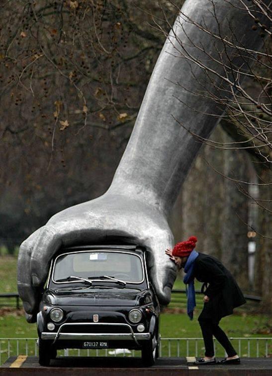 Hand statue