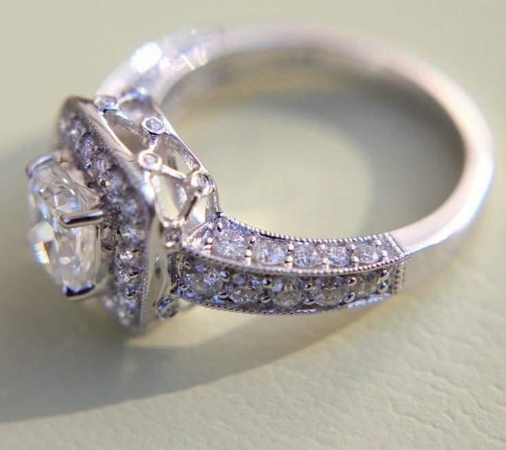 2 carats total Round and Cushion Cut Diamond Engagement Ring