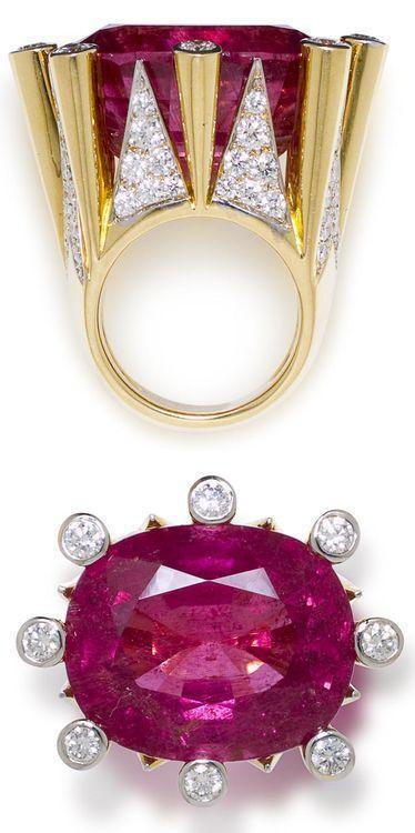 A pink tourmaline and diamond ring, Tony Duquette,