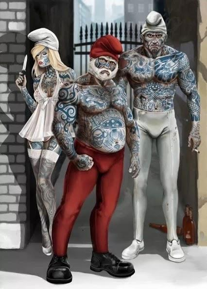 Blue Skin Core  by Andrew Tomaszuk - Smurfs as hardcore gangsters.