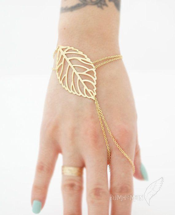 Veiny Leaf Index Finger Slave Bracelet, 16k Gold Plate plus…