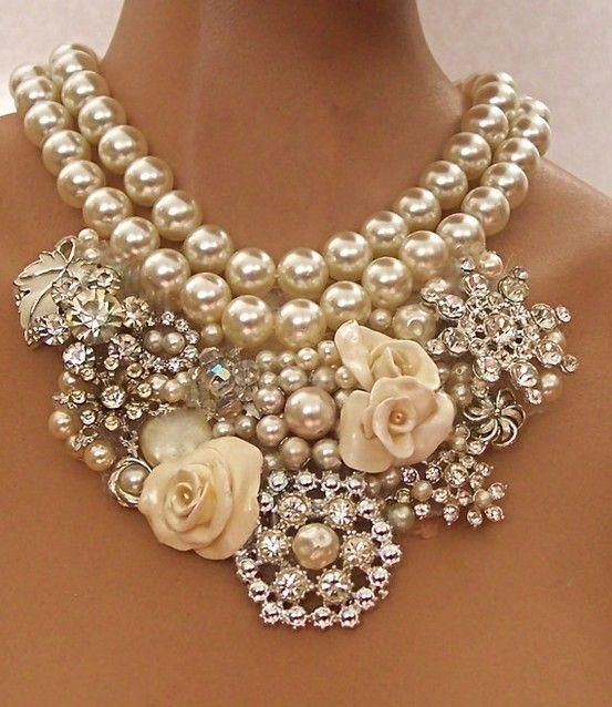 pearls, studs and flowers. Now that's a statement.