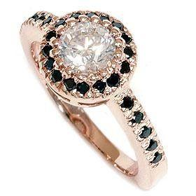 14K Rose Gold .93CT Vintage Black & White Real Diamond Engagement Vint