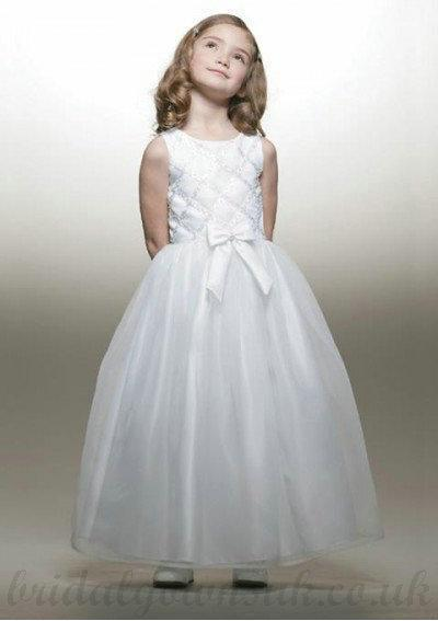 Flower Girl Dresses, A Line Round Neck White Sash Tea Length Organza F