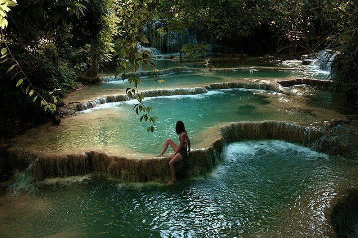 Waterfall pools in Erawan National Park, Kanchanaburi, Thailand... isn